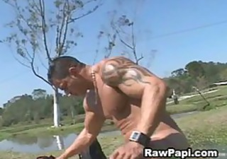dude with big muscle copulates hard papi anal
