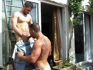 unshaved gay stud got his ass licked outdoors