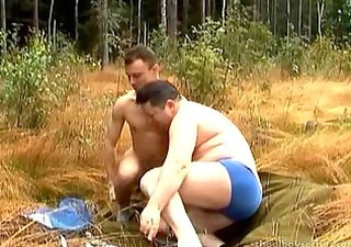 twink bonks chubby dad in forrest