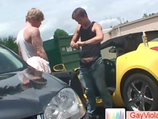 blond dude acquires a-hole drilled in car part11