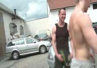 blonde homosexuals having oral stimulation sex in