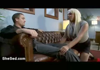 wet golden-haired transsexual bangs lad