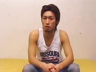 sexy asian homo guy disrobes and masturbates