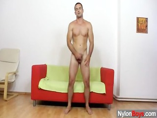 homosexual messy cum explosion on nylon pantyhose