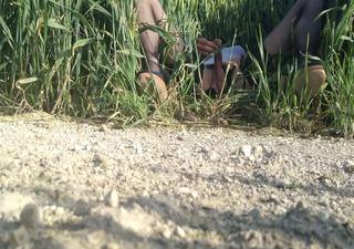 crossdresser jerking off in a wheat field