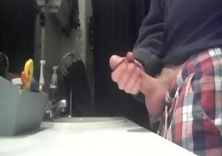 a cum shot in the bathroom