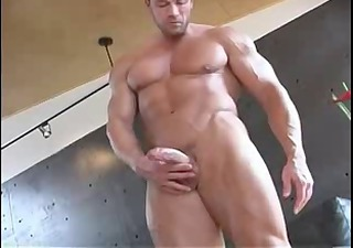 hot muscle plays with his dick