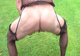 solo crossdressers outdoor show and cum