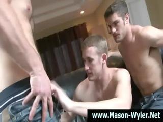 homosexual hunky muscley pornstar sucks on rod