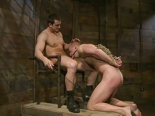 blindfolded gay hunk got roughly humiliated and