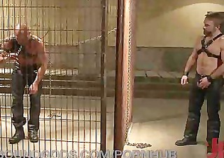 caged and drilled by a leather daddy