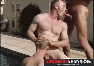 hairy hunks get it is on by the pool