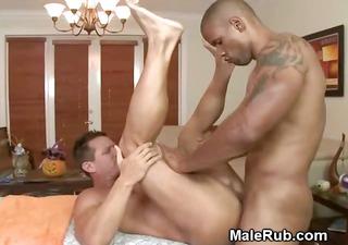 black masseur pounds his mmf clients butt on