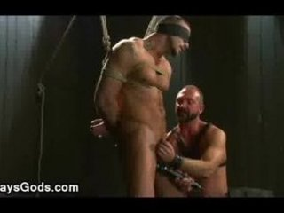 tied up and blindfolded homo gets his rod vibed