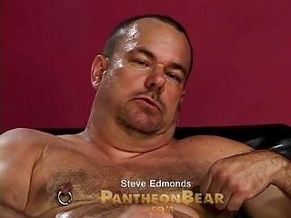 horny homo bear passionately wanks his pierced