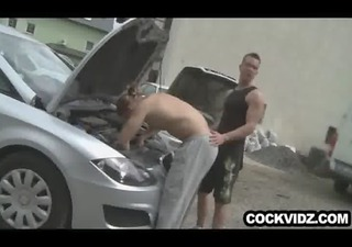 mechanic and client fuck outdoors