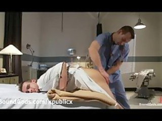 psycho gay handcuffed and fondled by doctor in