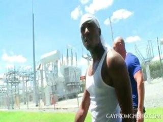 white guy gazoo bonks an afro homosexual outdoor